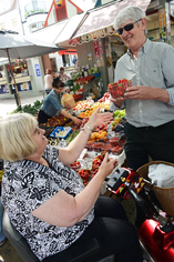 A Shopmobility user at the Market